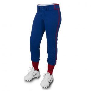 custom blue with red line softball pant