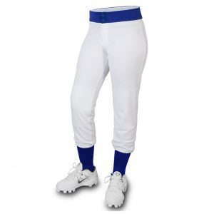 custom white with blue line softball pant