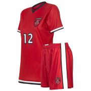 custom bright red soccer uniform