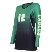 custom black green gradient volleyball jersey