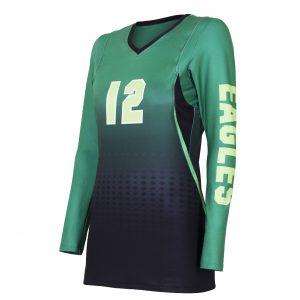custom black green gradient volleyball jersey