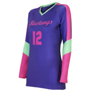 custom blue pink volleyball jersey