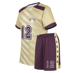 custom light gold maroon soccer uniform