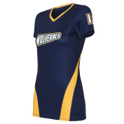 Navy blue with yellow lline volleyball jersey