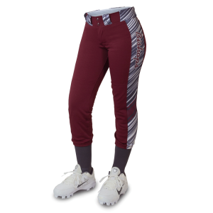 Maroon softball pants with side trim