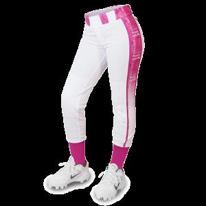 White and pink softball pants