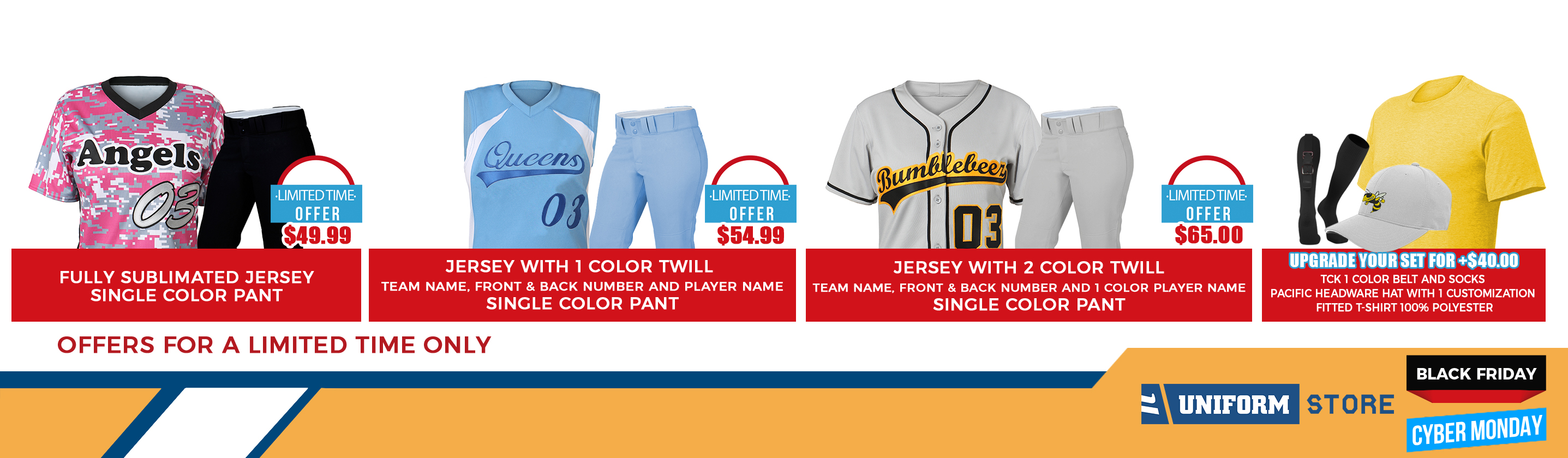 Softball jersey and uniform promo