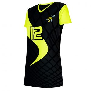 custom black yellow volleyball jersey