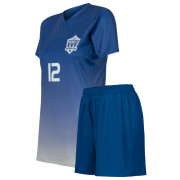 custom dark blue gradient soccer uniform