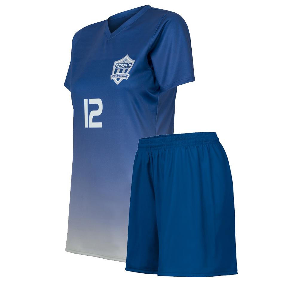 custom dark blue gradient soccer uniform