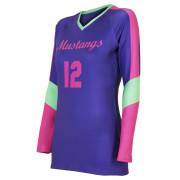 custom blue pink volleyball jersey