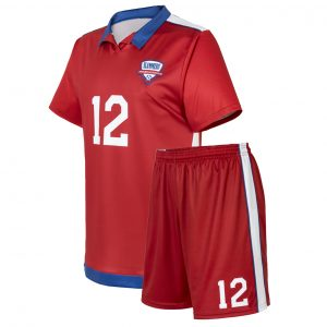 custom bright red soccer uniform
