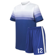 custom gradient white to blue socer uniform