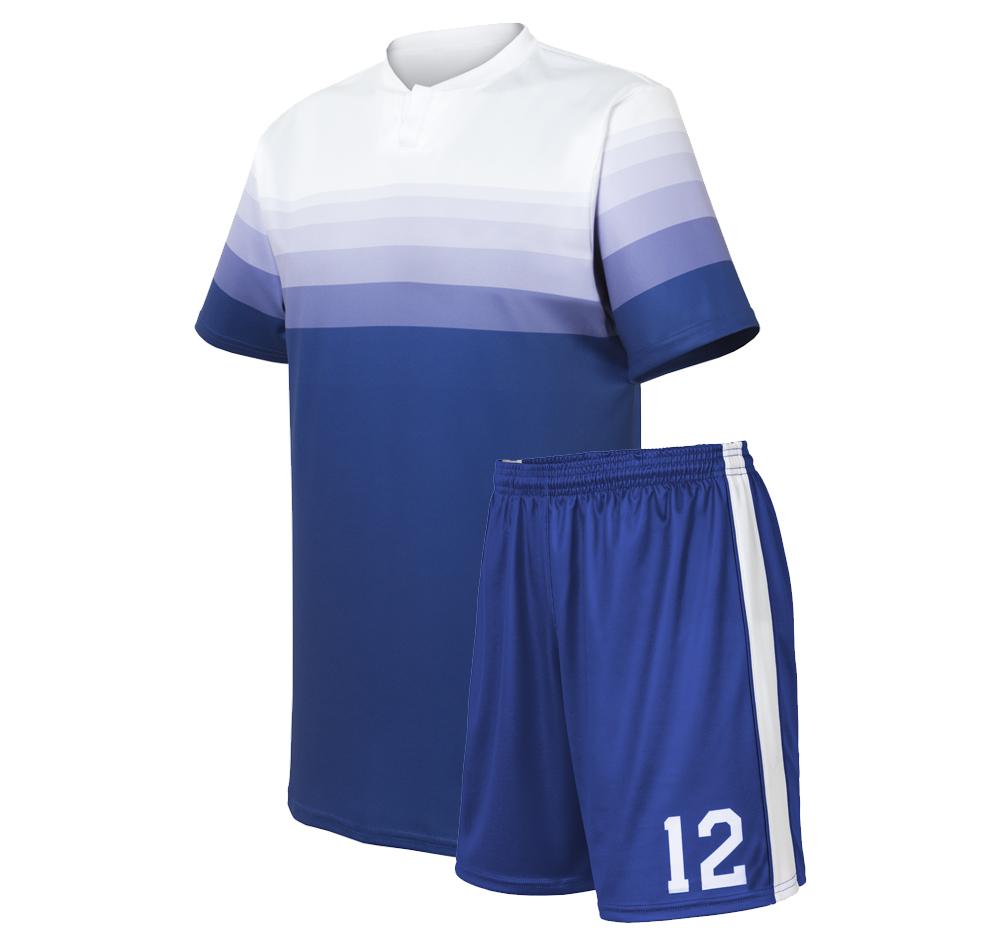 custom gradient white to blue socer uniform