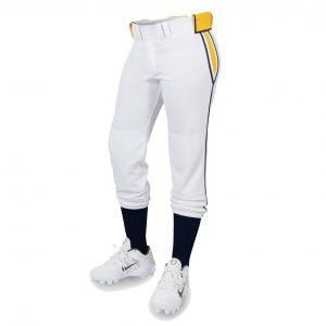 custom white with yellow line softball pant