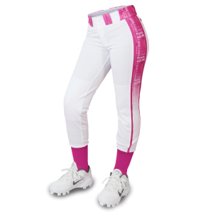 White and pink softball pants
